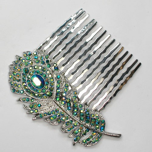 12pcs lot Green AB Crystal Rhinestone Fashion Peacock Feathers Hair Comb L041 M