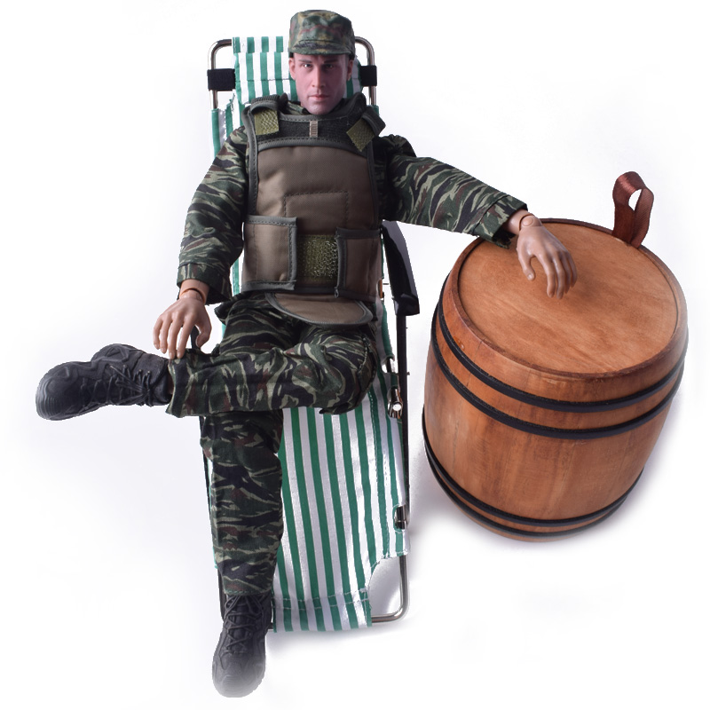 1/6 Scale Beach chair Green+Camouflage Uniform Suit+SWAT Tactical Ballistic Vest+Officer Cap+LOWA Shoes Black Model F 12 Figure 1 6 scale camouflage suit fg015 desert