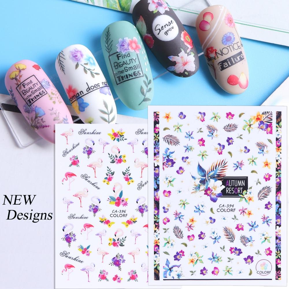 1pcs Purple Flowers Leaf 3D Nail Adhesive Stickers Decals Flamingo Nails Art Decorations Manicure Wraps Foils Slider TRCA393-427