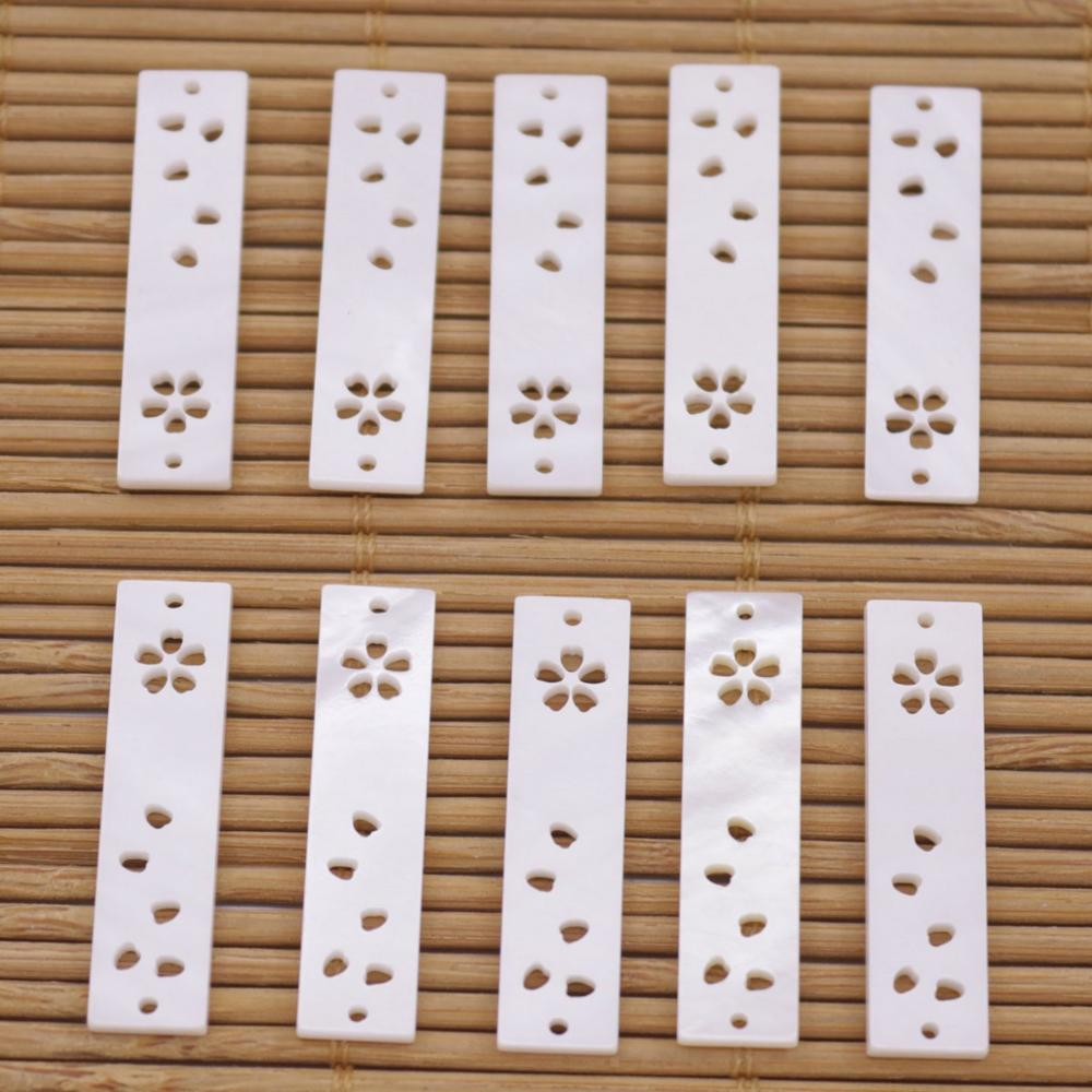 Купить с кэшбэком 10 PCS Rectangle Shell Pendant Charms Natural White Mother of Pearl 30mm