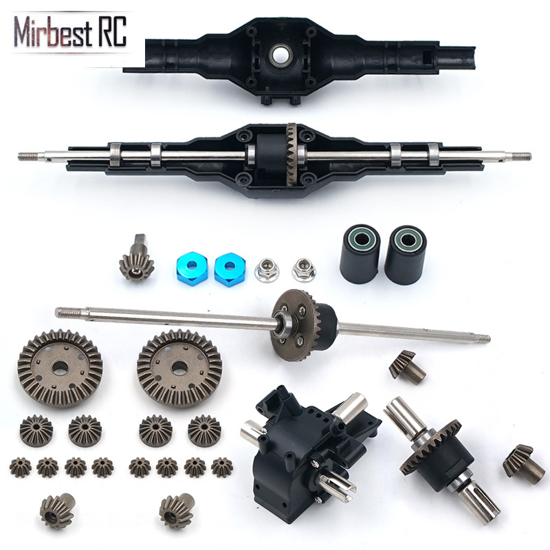Newest! Metal Upgrades Wltoys 12428 12423 12628 RC Car Spare Part Upgrade Metal Front Rear Differential Gear Set 12428-0091/0133