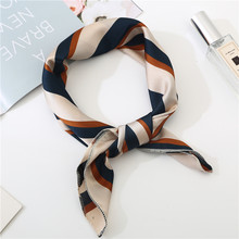 50*50cm square silk Feel Satin Scarf New Elegant Women Head Skinny Retro Hair Tie Band Small Fashion Square Neck Scarf bags(China)