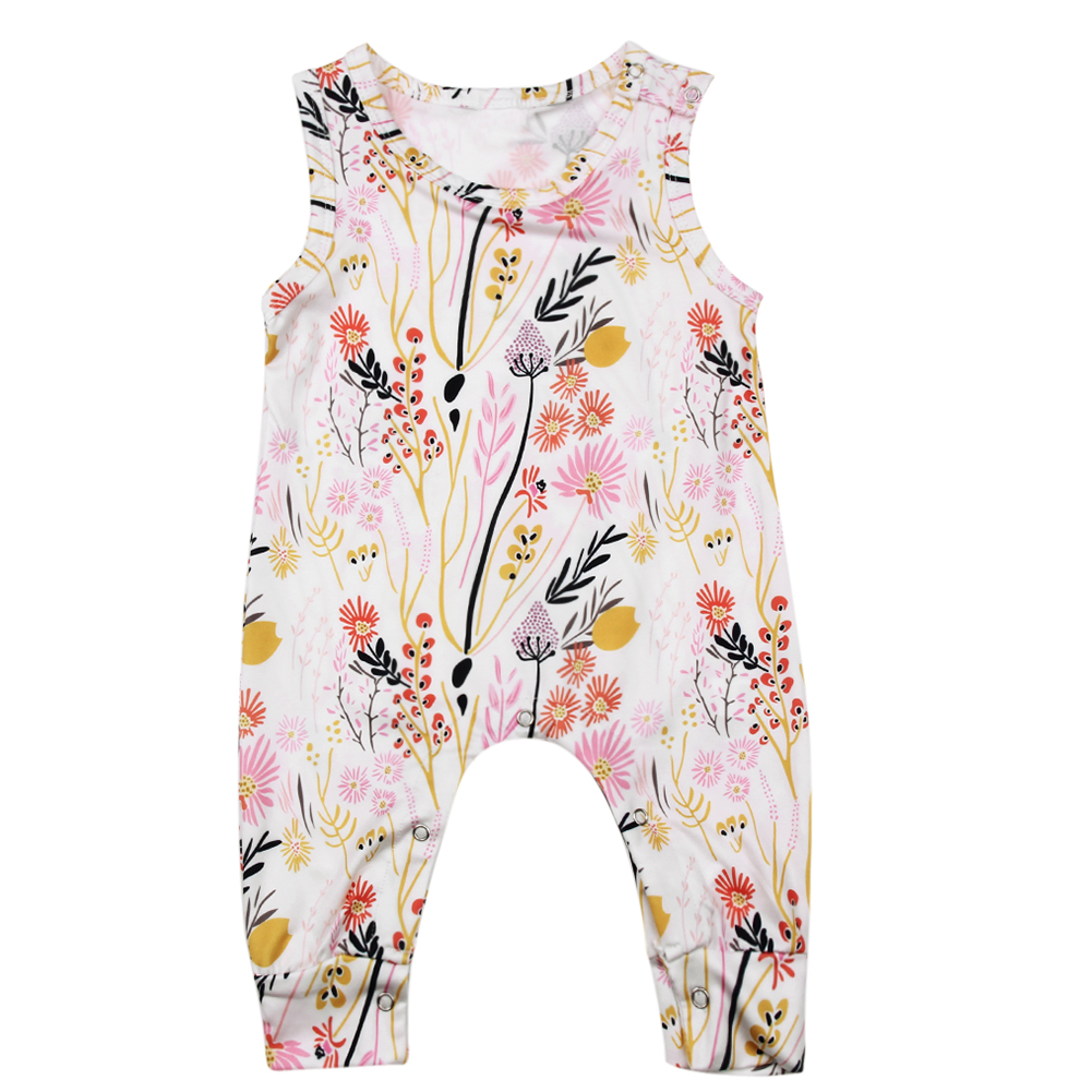 Baby Girls Harem Rompers Toddler Summer Sleeveless Floral Jumpsuits Kids Tank Playsuit Baby Girls Fashion Jumper