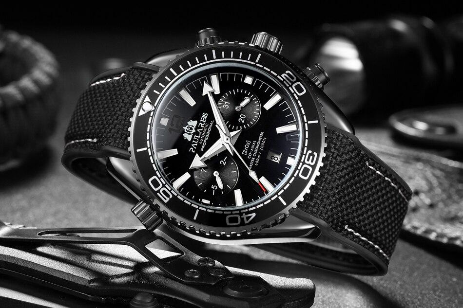 HTB1bb0dd3mH3KVjSZKzq6z2OXXa9 Automatic Self Wind Mechanical Canvas Rubber Strap James Bond 007 Style Orange Blue Red Multifunction Date Month Men Sport Watch