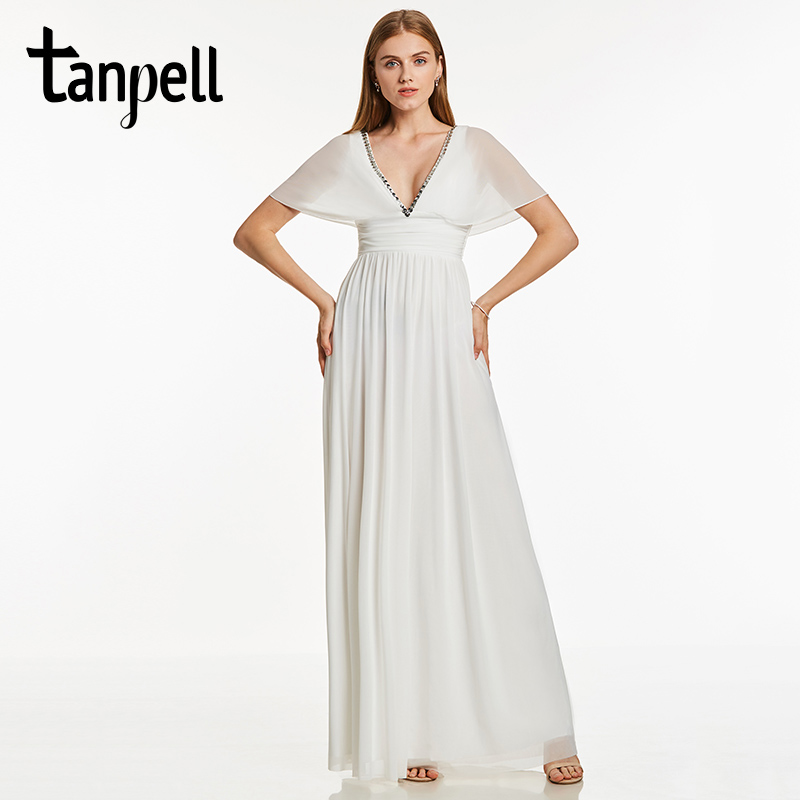 Tanpell v neck long   evening     dress   ivory beaded short sleeves floor length a line gown cheap women empire formal   evening     dresses