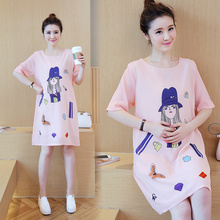 Summer maternity dress cartoon print pregnant women chiffon dress in long section pregnant women loose jacket