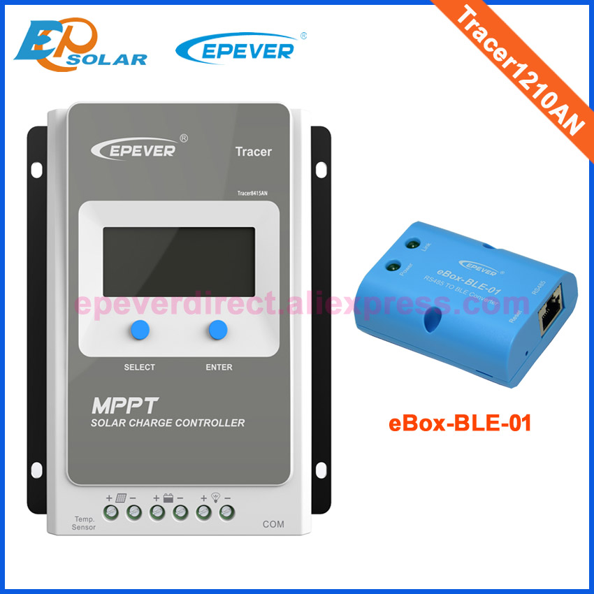 lcd 12V 24V battery charging solar controller Tracer1210AN bluetooth eBox 10A 10amps eBOX-BLE-01 EPEVER EPsolar Original lcd 12v 24v battery charging solar controller tracer1210an bluetooth ebox 10a 10amps ebox ble 01 epever epsolar original