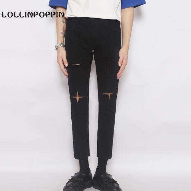 Mode coréenne Hommes Déchiré Noir Jeans Slim Denim Pantalon Nouveau 2016 Croix Cassé Jeans Cheville Longueur Livraison Gratuite