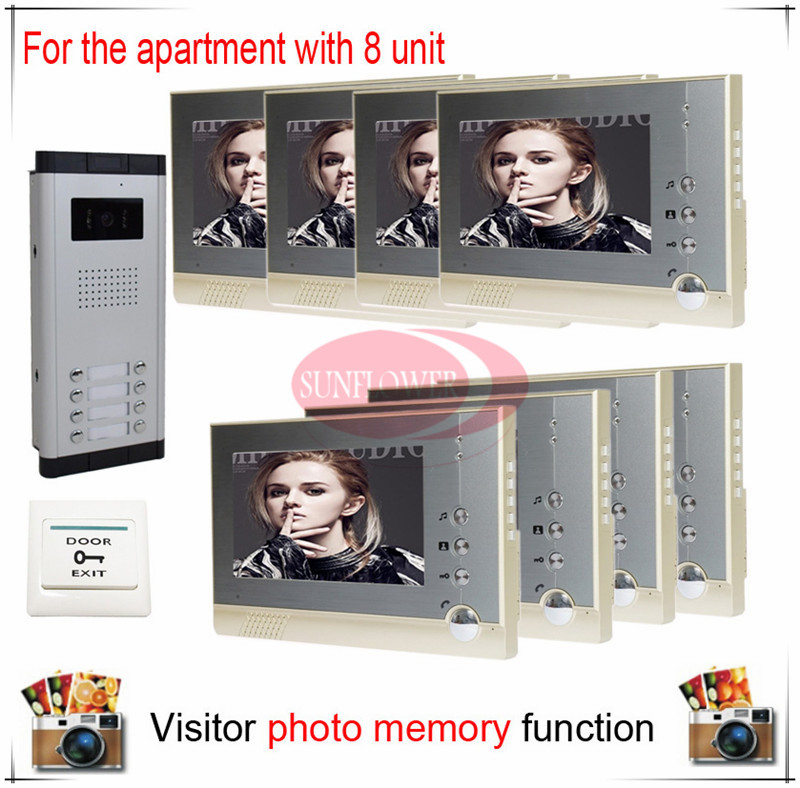 Eight / 8 Units Apartment Building Color Video Door Phone Intercom Visitor Photo Memory ( Also support SD card photo storage) my apartment