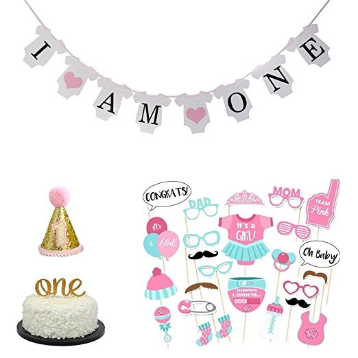 36 Pcs Baby Girl Boy First Birthday Cake Topper I AM ONE Banner