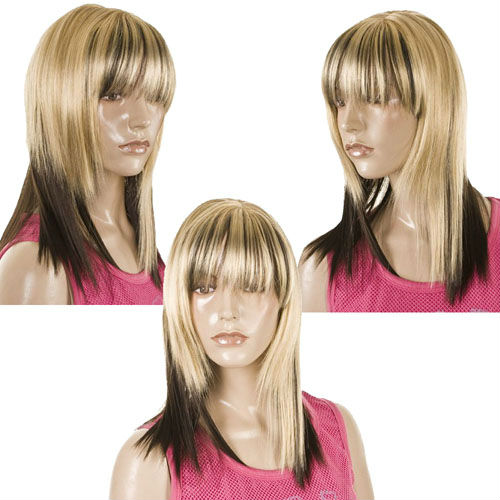 343f01b1 Straight Blonde and Brunette Contrast Wig 2 tone Blonde & Dark Underlayer |  Styleable Debbie Harry Blondie Style Wig 10pcs/lot