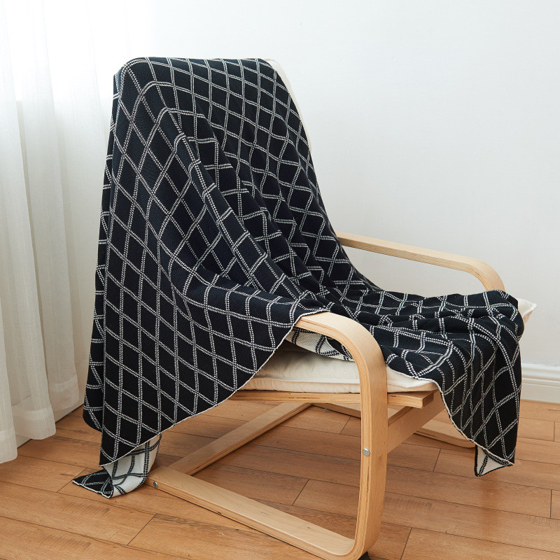 Black Knitted Bed Throw Blanket by 100% Acrylic(Warm/Cozy