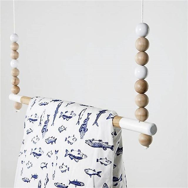 Fashion Handmade Wooden Hanging Beads Shelf Nordic Style Nursery Decoration Bookshelf Kids Room Girl Storage