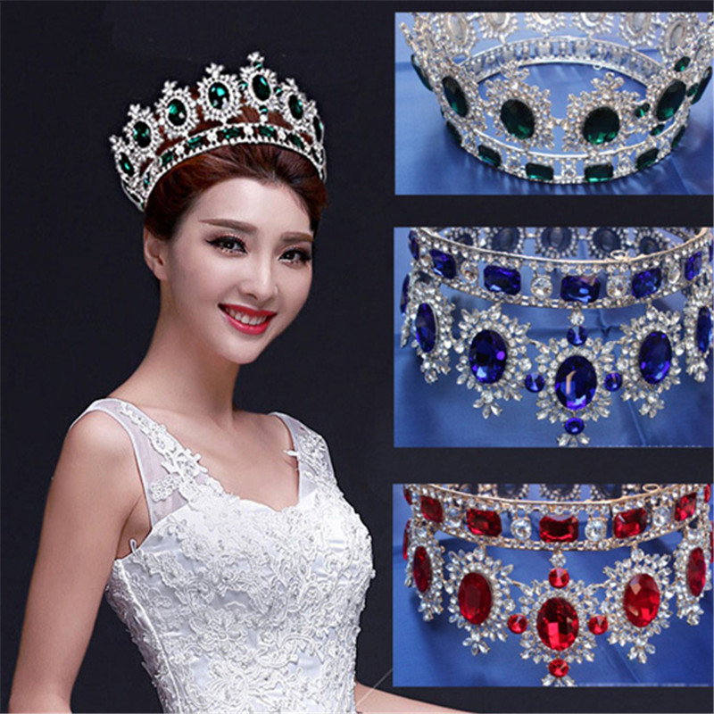 Gorgeous Large Crystal Baroque Queen Bridal Tiaras and Crown Bride Women Diadem Hair Ornaments Wedding Hair Jewelry Accessories mi happiness red bride wedding hair tiaras gorgeous hair jewelry hanfu costume hair accessory