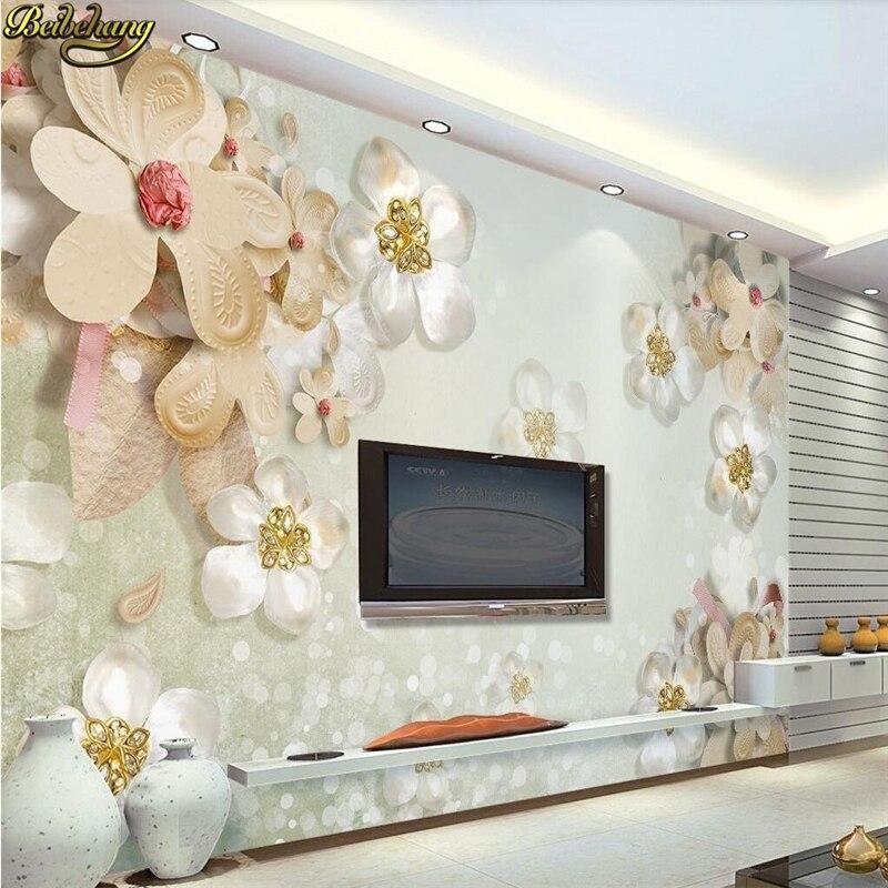 Beibehang Custom Wallpaper Home Decor Living Room Bedroom: Beibehang Custom Jewel Flowers Wallpaper For Walls 3 D