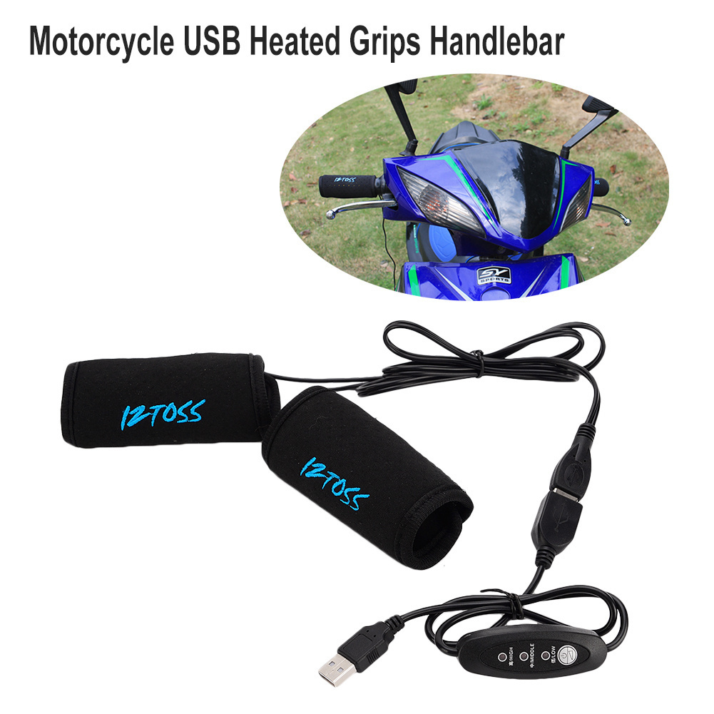 Newest 1 Pair Motorcycle Heated Grips USB Electric Hot Bicycle Motorcross Handle Handlebar Warmer Removable Grips
