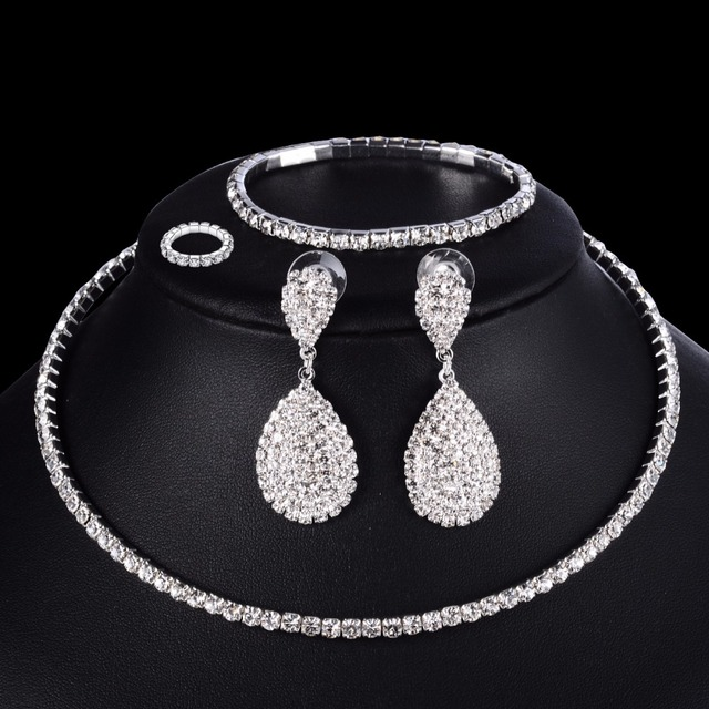 4 PCS Luxury Wedding Bridal Jewelry Sets for Brides Women Necklace Bracelet Ring Earring Set Elastic Rope Silver Crystal Jewelry 1