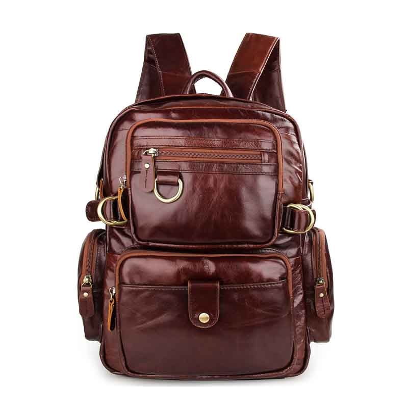 Men's Bags New Brown Chocolate Color Leather Head Layer Leather Series Korean Casual Men And Women Universal Retro Backpack Backpacks