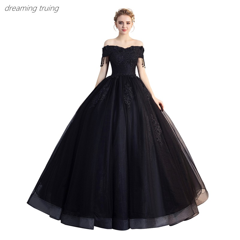 2019 Cheap Victoria Black Wedding Dresses With Short Sleeve V Neck 3D Flowers Long Off Shoulder Robe De Mariage Bridal Ball Gown