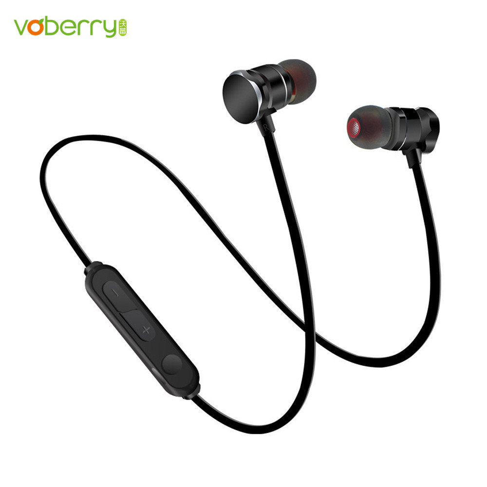 VOBERRY Magnetic Headset SweatProof Sport Bluetooth Earphone Wireless Stereo Earbuds With Microphone For IPhone Android bluetooth headphones stereo sport headset support tf card 8g wireless earphone microphone neckband headset for iphone 7 android