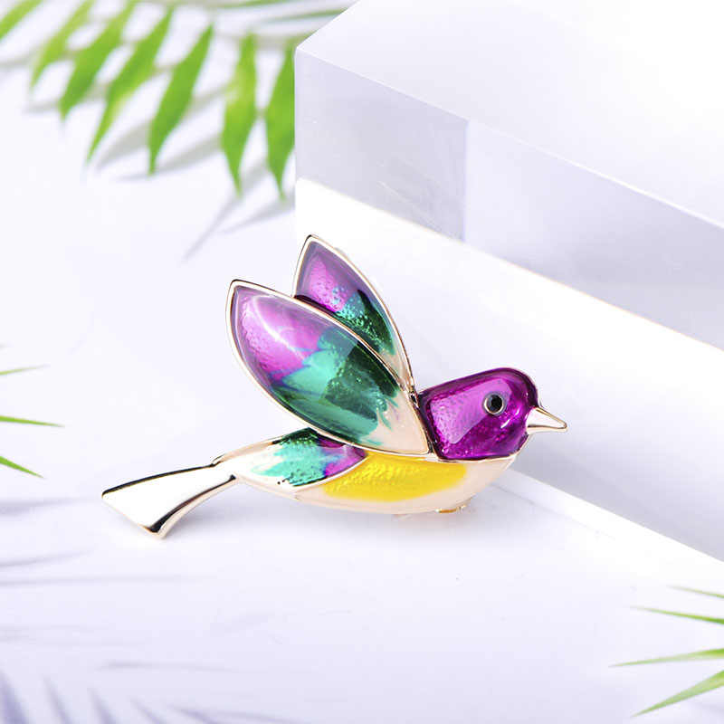 Blucome broche en forma de golondrina colorida broches broche de aves esmaltadas broche de oro Animal para mujeres niños bufanda para Jersey traje Pin de solapa joyería