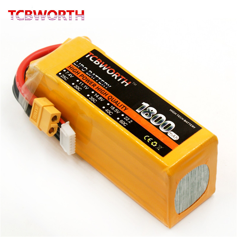 RC 6S LiPo Battery 22.2V 1800mAh 25C For RC Airplane Drone Car High Rate Cell battery T Plug XT60 TCBWORTH