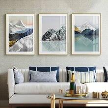 Geométrico montanha paisagem abstrata parede arte da lona impressão do cartaz nórdico decorativo imagem pintura moderna sala de estar decoração