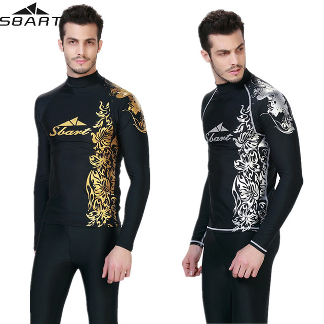 65f08ee5602 Mens Rash Guard Top Long Sleeve Plus Size 4XL for Water Sports Swimwear  Swim Shirt SPF Sun Protection Tight Fit Fitting