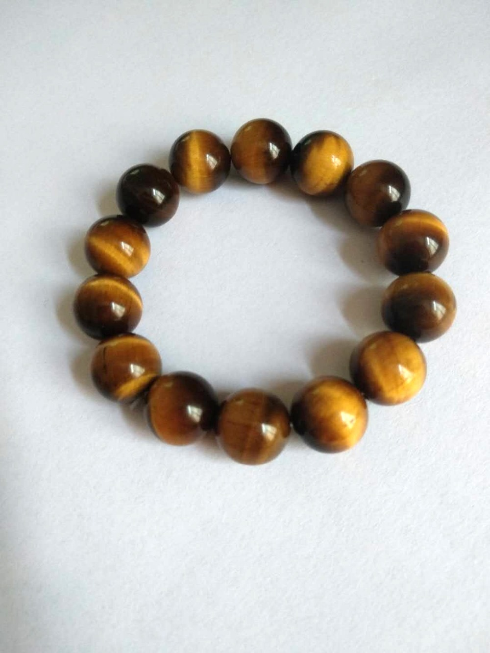 10mm Natural Yellow Tiger Eye Stone Bead Bracelet