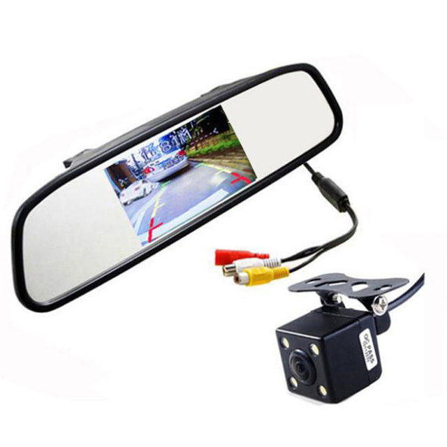 2015 HD Video Auto Parking Monitor,LED Night Vision Reversing CCD Car Rear View Camera With 4.3 inch Car Rearview Mirror Monitor
