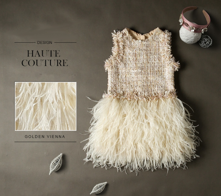 Handmade fur feather dress Baby Lace Dress Princess Puffy Maxi Sequined woolen Dress Girl Tulle Costumes Wedding Birthday