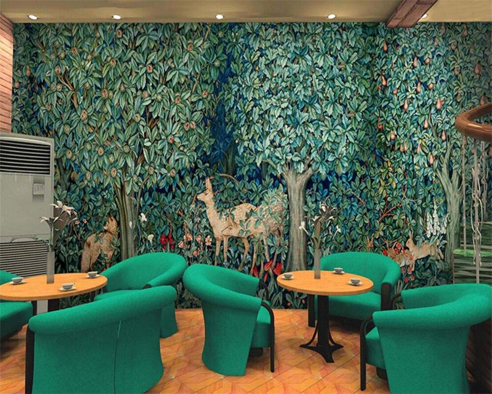 Papier Peint Chambre Moderne papiers peints papier peint 3d peinture À lhuile de forêt