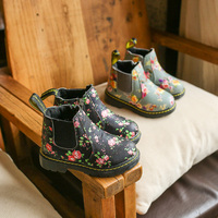 DOLLPLUS Children Print Martin Boots Autumn Winter Girls Flat Heel Plush Warm Boots PU Snow Boots