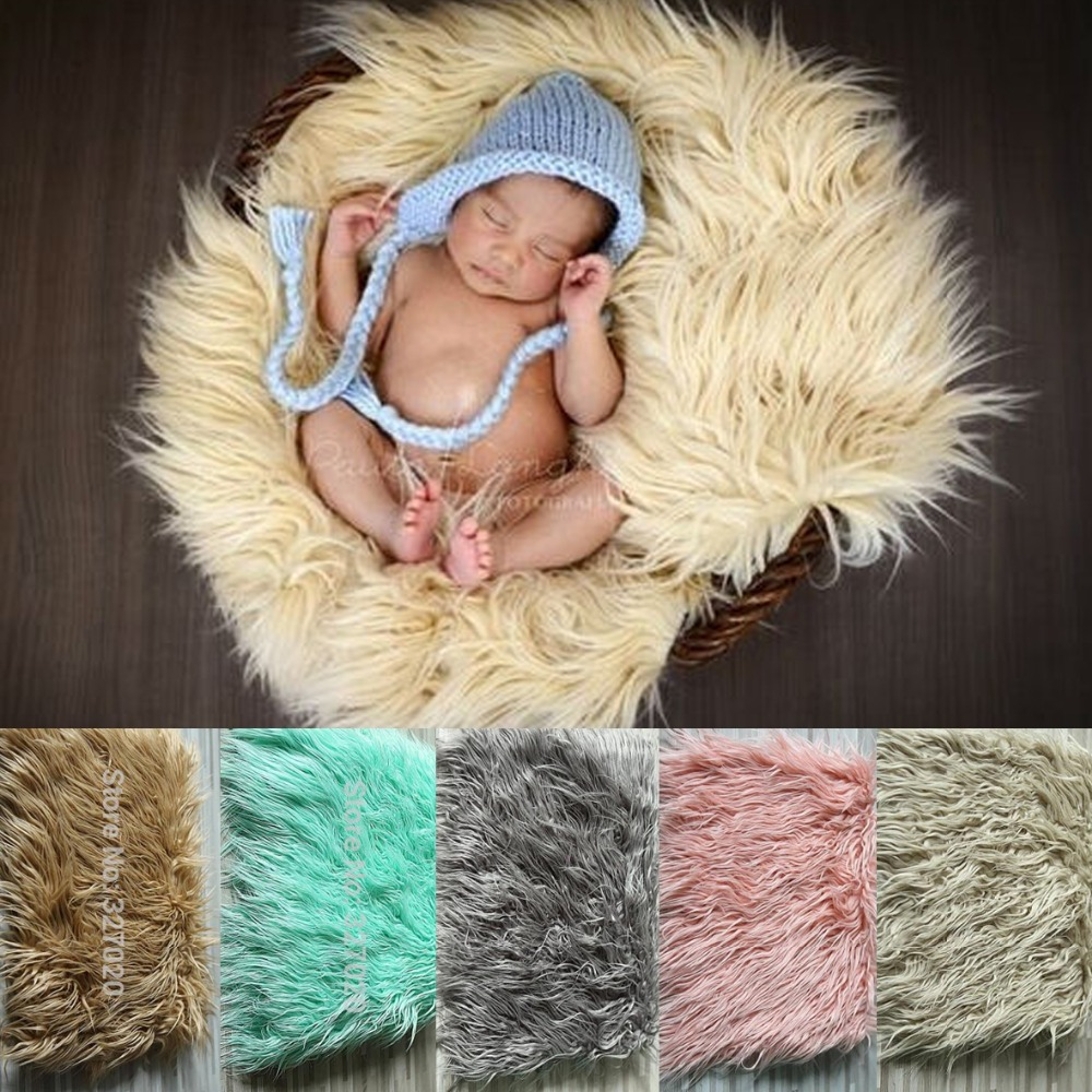 75*50cm Newborn props faux fur basket filler stuffer photo props baby fotografia Photography backdrops background blanket fleece