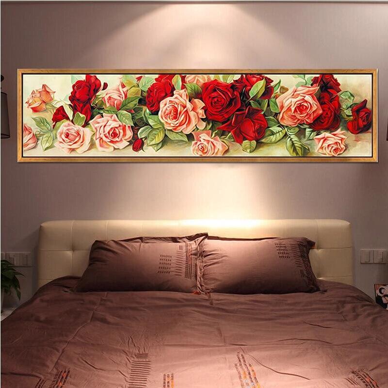 DIY 5D Diamante Cristais Bordados de flores Rodada Strass Pintura Diamante do Ponto da Cruz de Diamante Mosaico Imagem Kits85x25cm