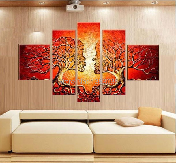 Hand Painted Modern Abstract Trees Lovers Oil Paintings Living Room Set 5  Piece Canvas Art Wall