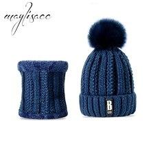 Maylisacc Женская зимняя обувь теплая вязаная шапка с шарфом флисовая префект подарок для Для женщин девочек открытый спортивный шарф шапка комплект