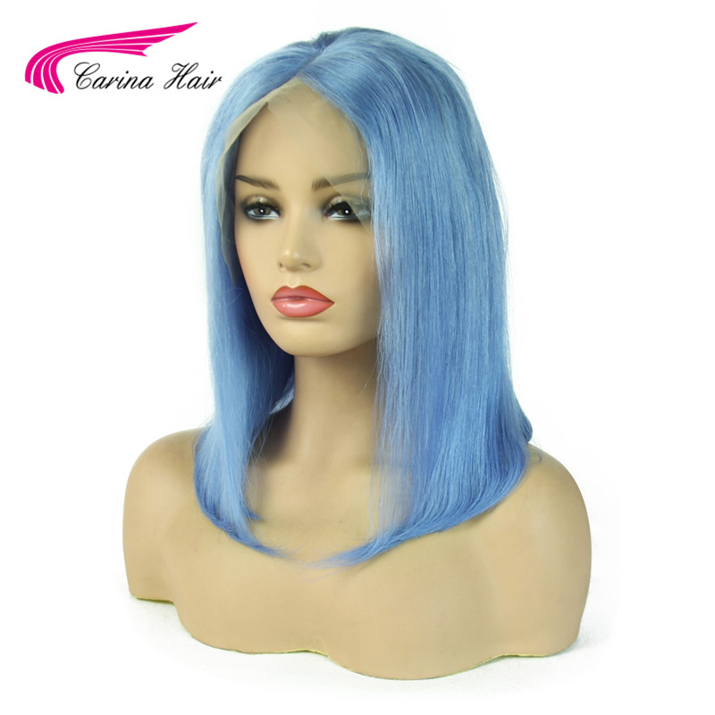 Carina Light Blue Lace Front Human Hair Wigs Remy Preplucked Colored Short Bob 13x6 Lace Front Wigs For Women
