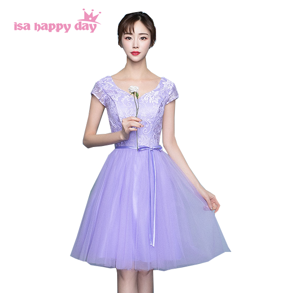 girls grecian lavender light purple v neck bridesmaid dress ball gown party occasion dresses short for teens sweet 16 H4025
