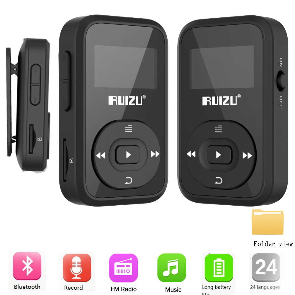 RUIZU X26 deporte Bluetooth reproductor de música MP3 grabadora FM Radio Supprot SD Clip de tarjeta Bluetooth reproductor MP3 8GB ruizx02 ruizux06