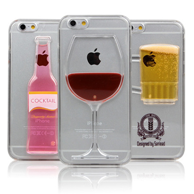 High Sales! Luxury Red Wine Cup and Beer Bottle Liquid Transparent Case Cover For Apple iPhone 6 6S Case