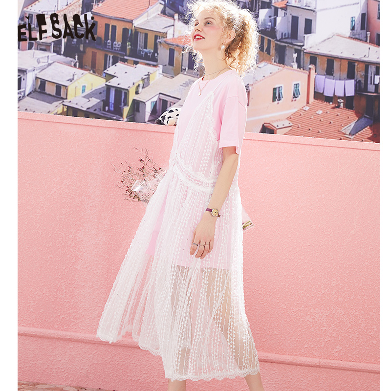 ELF SACK Sweet Pink Women T shirt Dress White Lace Spaghetti Strap Dresses Set 2019 Casual