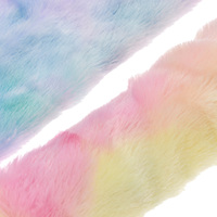 1Yard Rainbow Color PV Fur Leather Fabric For Bags Bows Soft Plush Sewing Fabric Home Decoration Diy Crafts
