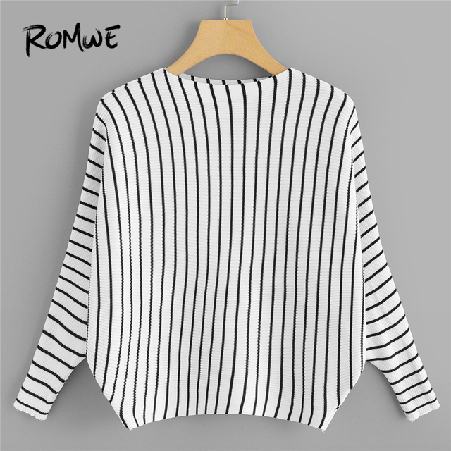 Romwe Black And White Striped Round Neck Sweater Women Casual Autumn