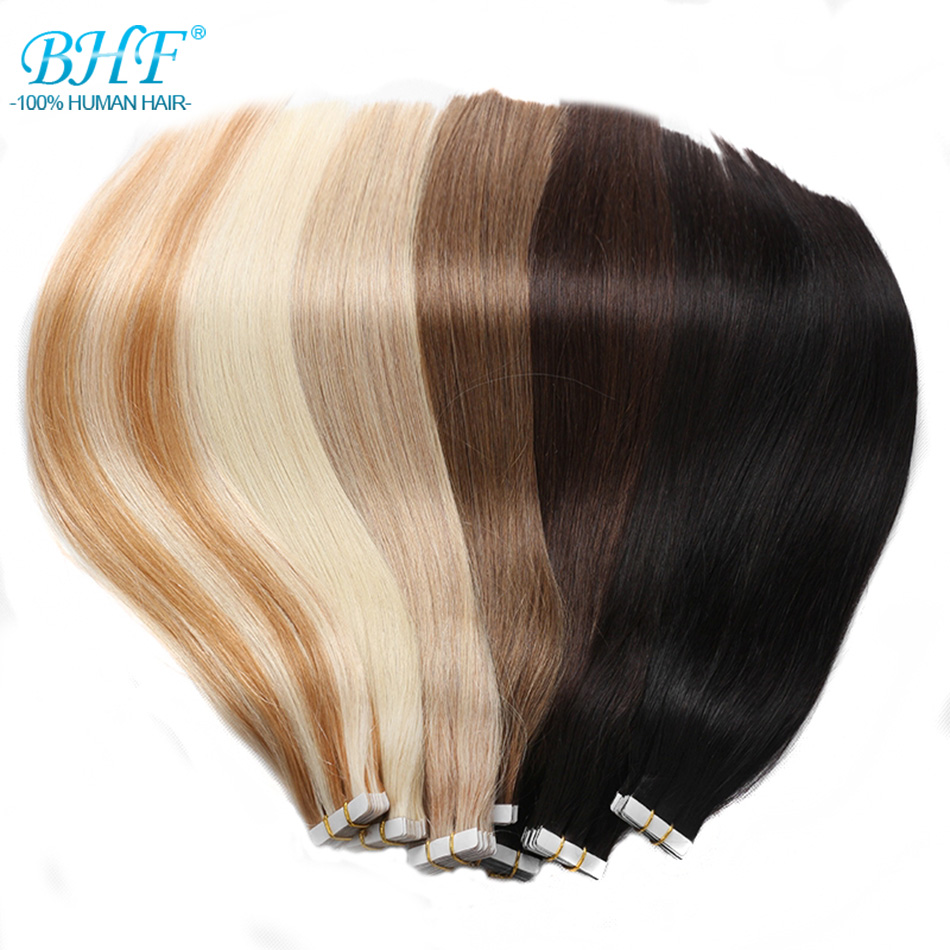 BHF Tape In Human Hair Extensions 20pcs European Remy Straight 14-22 Inch Adhensive Extension