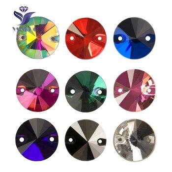 YANRUO 3200, piedras redondas para coser, Rivoil AAAAA diamantes de imitación, piedras de cristal de Vestido de espalda plana, piedras de diamantes de imitación para coser, ropa de joyería