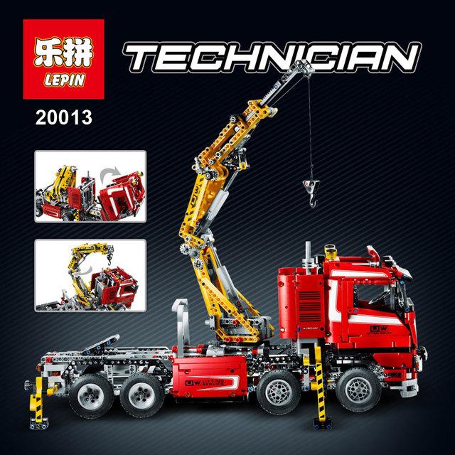 EN STOCK Lepin 20013 1877 unids Técnica Último Mecánica Serie de La Grúa Eléctrica Camión Conjunto de Bloques de Construcción Ladrillos Juguetes 8258