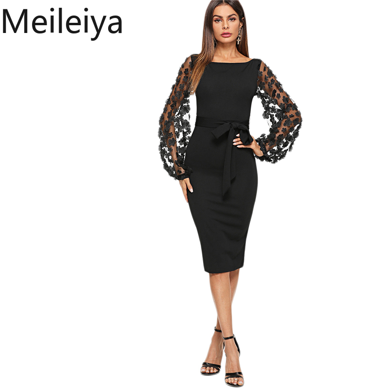 Black Party Elegant Flower Applique Contrast Mesh Sleeve Form Fitting Belted Solid Dress Autumn Women Streetwear Dresses