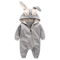 EMS DHL Free Cotton Kids Baby Girls Boys One Pieces Romper With Rabbit Ears Overall Ins