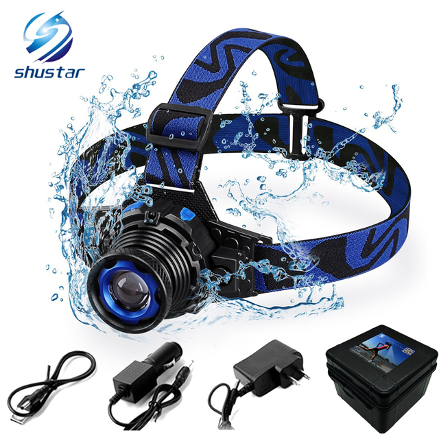 Waterproof LED headlamp rechargeable headlight Q5 LED Rotary zoom 3 modes head lamp Built-in lithium battery + charger + USB